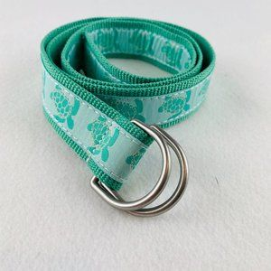 Lands End Turtle Belt Grosgrain Ribbon Web Aqua S